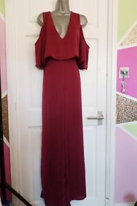 MISGUIDED....SIZE UK 16.....GORGEOUS BURGUNDY COLD SHOULDER JUMPSUIT....LOOK....