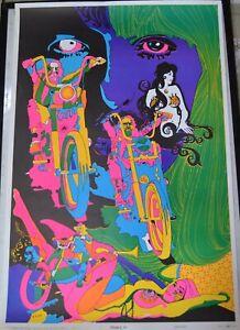 Vintage 1960s Easy Rider Biker Style Blacklight Poster Dream Of Me