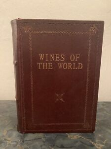 Wines Of The World Fake Book Storage Box Gold Leaf Leather Bound