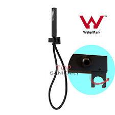 Shiny Black Square Handheld Shower Head Jet & 1.5m Hose Set Drill Free Watermark