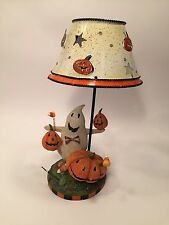 Halloween Tealight Candle Lamp with Metal Shade Ghost Pumpkins Candy Corn Boo!