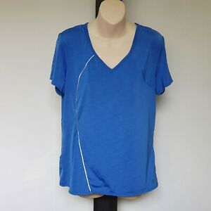 'SPORTSCRAFT ACTIVE' VGC SIZE 'L' SILKY BLUE WITH SILVER TRIM SHORTS SLEEVE TOP