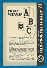 """MINISTRY OF FOOD WAR COOKERY LEAFLET NO. 14 """"YOUR VITAMIN ABCD"""" WWII HOME FRONT"""