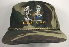 Vintage Camo Wedding Hat Married August 3 1991 Trucker Cap Bride Groom Strapback