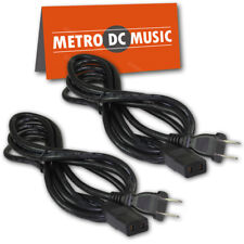 2-Pack 8 ft Power Cord IEC C9 to NEMA 1-15P for Vintage Hi Fi Audio 2 Prong NEW