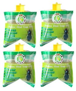 4x Fly Trap Bag Catcher Kills 20,000 Flies Insects Pest Control Killer