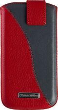 COMMANDER TWIN  Echt Leder Handy Tasche Schutz Hülle  Apple iPhone 8 Rot