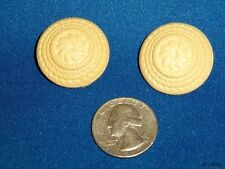 Lot of 2 Vintage Buttons Estate Find Cream Fancy Molded Stamped Early Plastic