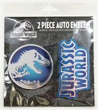 NEW Universal Studios Jurassic World Logos Acrylic-Metal 2 Piece Auto Emblem Set