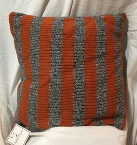 "Nautica Rigger Stripe Knit 18"" Square Orange & Charcoal Throw Pillow  NOS / NWT"