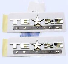 2x OEM Chrome TEXAS Edition Emblems BADGE For Chevrolet SIERRA Silverado GM Pair