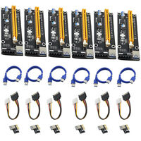 6x USB 3.0 PCI-E Express 1x To 16x Extender Card Adapter Power Cable Adaptateur