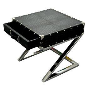 Beautiful Black Croco Leather Designer Multipurpose 1 Drawer Bedside