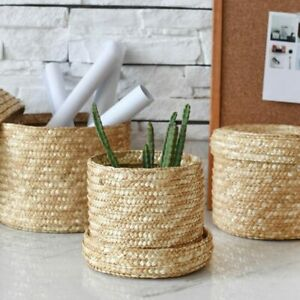 3 Pcs Set Handmade Rattan Straw Woven Storage Basket With Lid Snack Organizer
