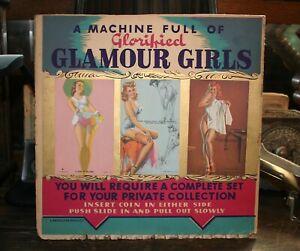 Antique Coin-Op Mutoscope Girlie Card Vending Machine Award Card Sign Rare!!!