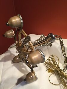 Superb Vintage Hanging Light Fixture Chandelier 5-Bulb Art Deco Nouveau