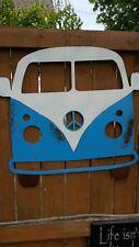 VW Van Metal Sign Volkswagen 70's Hippie Decor Industrial Wall Art Rusted Bus