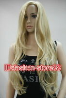 HOT!!!Women Ladies Sexy Long wavy curly Blonde Natural Hair full wigs + Wig gift