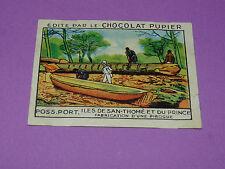 CHROMO POSS. PORT N°218 FABRICATION PIROGUE CHOCOLAT PUPIER AFRIQUE 1938-1950