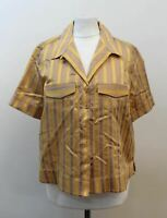 AUTOGRAPH Ladies Gold Cotton Blend Short Sleeve Striped Shirt UK10 EU38 BNWT