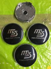 Centro De Rueda De Velocidad De Mazda Gorra 60mm Negro/Plateado Conjunto de 4 Tapacubos Emblema Insignia de 3D