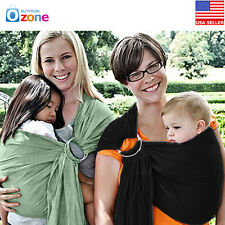 New Adjustable Ergonomic Infant Baby Ring Sling Carrier Wrap Pouch Cotton, Black