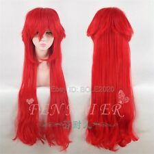90CM Long Anime Black Butler Grell Sutcliff Wig Red Cosplay Straight Wave Wigs