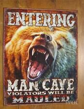 Mighty Grizzly Bear Man Beer Cave Metal Enter Door Sign Wall Poster Distressed