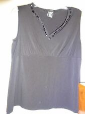 GEORGE Stretch Black Size XL Ladies Top Hook & Eye at neck & Beads Poly Spandex
