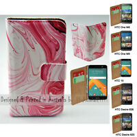 For HTC Series Mobile Phone - Pink Swirl Theme Print Wallet Phone Case Cover