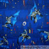 BonEful Fabric FQ Cotton Quilt Blue Batman Boy Marvel VTG Comic Super Hero City