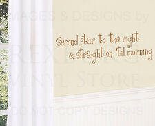 Wall Decal Sticker Quote Vinyl Second Star to the Right Peter Pan Nursery K12