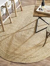 Large 100% Jute Oval reversible natural 150x215cm. Braided, American style rug.