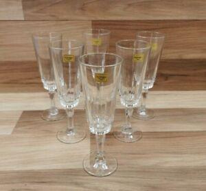 6 x Vintage Retro Luminarc Champagne Flutes / Glasses - France