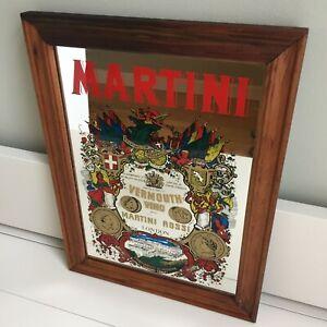 Vintage Martini Advertising Mirror Wooden Frame 1970s 1980s Mancave Home Bar Pub