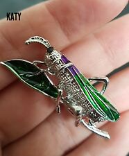 Vintage Enamel Grasshopper Diamante Rhinestone Brooch Pin Badge Broach Crystal