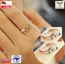 Cute Musical Note Adjustable Imitation Rhinestone Midi Rings Women [A1C~B51]
