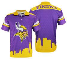 FOCO NFL Men's Minnesota Vikings Thematic Polo Shirt, Yellow Collar