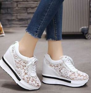 New High Heel White Platform Wedge Mesh Lace Breathable sneakers sz 7
