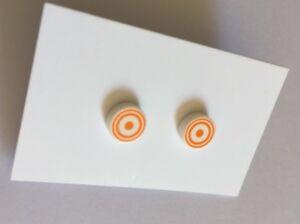 Orange & White Circle Stud Earrings, Handmade With Lego®, Stainless Steel, 8mm