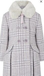 Monsoon Dogtooth tweed coat purple Coat 11-12Yrs