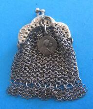 BOURSE AUMONIERE PORTE LOUIS miniature en ARGENT MASSIF solid silver mesh purse
