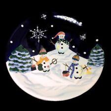 World Market Holiday 3 Snowman Blue White Christmas Tree Appetizer Dessert Plate