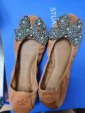 Tory Burch Ladies Eddie w/bow Soho Lux suede size 7 shoes flats