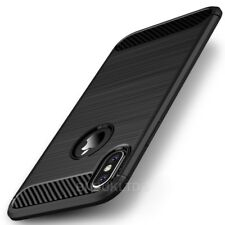 For Various Smartphones Carbon Fibre Gel Case Cover Brushed Shockproof Hybrid