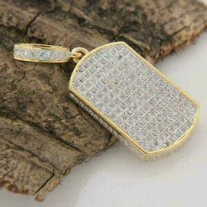 1.50Ct Round Diamond Men's Dog Tag Pendant Charm 14k Yellow Gold Over Free chain