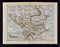 1885 Cortambert Map  Turkey in Europe Balkans Serbia Romania Bulgaria Bucharest
