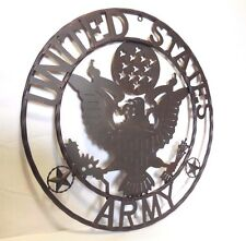 """24"""" ARMY UNITED STATES MILITARY METAL WALL ART WESTERN HOME DECOR RUSTIC BROWN"""
