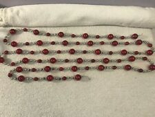 "Vintage Glass Garland 108"" Red ball silver spacers Ch4157"