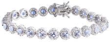 Sterling Silver 925 Womens Synthetic  Blue Topaz Stone Bracelet 7mm Wide